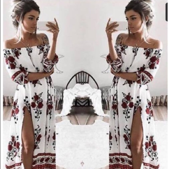 0033470ae5fb Floral off shoulder boho maxi dress with slit